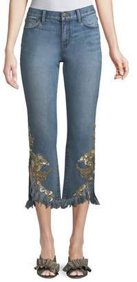 Kobi Halperin Embellished Rae Pants w/ Frayed Hem