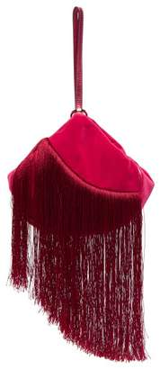 Hillier Bartley - Lantern Fringed Velvet Clutch - Womens - Pink