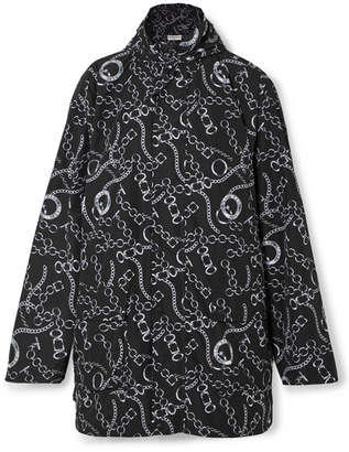 Oversized Printed Hooded Shell Windbreaker Jacket - Black