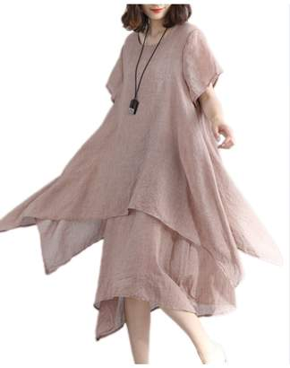 Zilcremo Women Summer Casual 2 Layers Cotton&Linen Asymmetric Maxi Dress XL