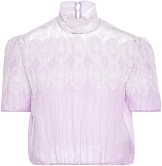 Thierry Colson Sabrina Cropped Cotton-And-Silk-Blend Lace Top