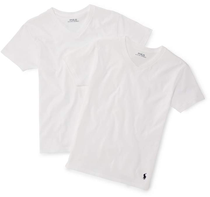 White Cotton V-Neck 2-Pack