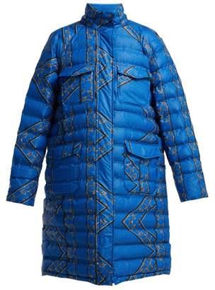 Ganni Foxworth Printed Down Jacket - Womens - Blue