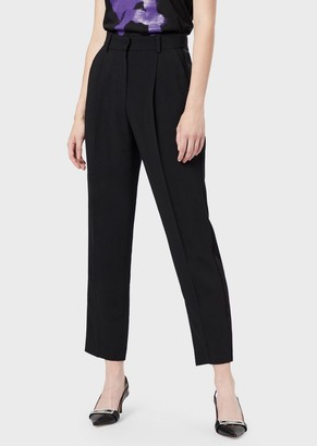 Emporio Armani Oversized Pants With Pleats And Satin Side Band