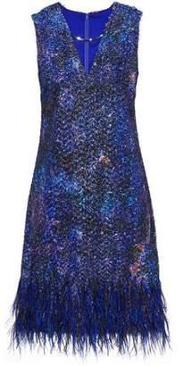 Elie Tahari Lyra Feather-trimmed Tinsel And Organza Mini Dress