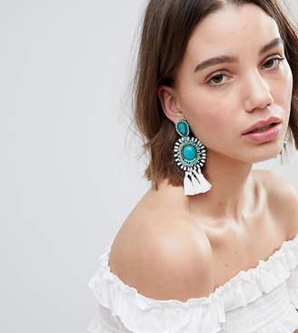 Glamorous Turquoise Beaded Tassel Statement Earrings