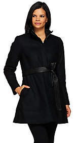 G.I.L.I. got it love it G.I.L.I. Wool Peplum Coat with Faux LeatherBelt