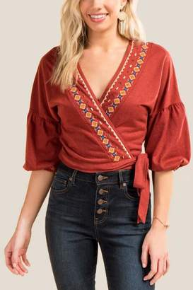 Brooklyn Cropped Tie Front Blouse - Cinnamon