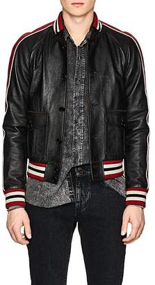 Saint Laurent Men's Washed Leather Varsity Jacket