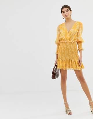 Keepsake Embrace mini dress in golden floral