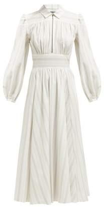 ALEXACHUNG Zip Collar Stripe Print Cotton Shirtdress - Womens - Grey White