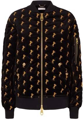 Chloé Horse Embroidered Velvet Bomber Jacket