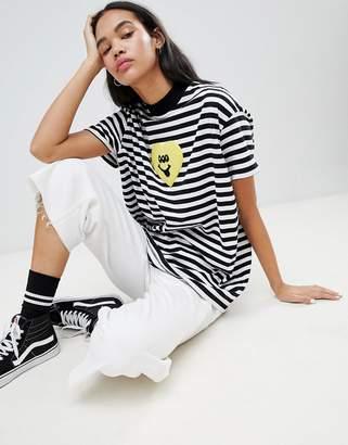 Lazy Oaf Three Eyed Heart Oversized T-Shirt In Stripe