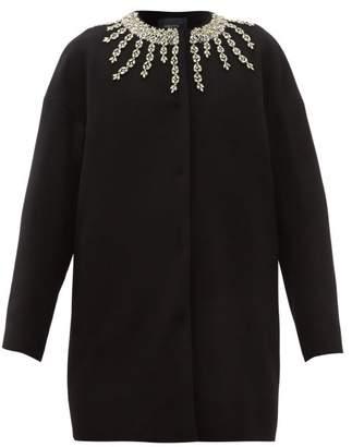 Giambattista Valli Crystal Embroidered Collarless Coat - Womens - Black