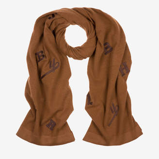 Bally Logo Embroidered Scarf Brown, Women's wool scarf in cowboy