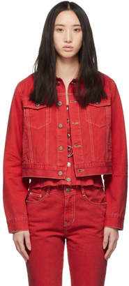 Sjyp Red Denim Fitted Jacket