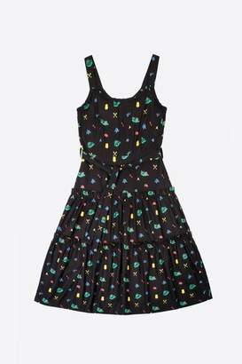Lowie Camping Print Josephina Dress - M - Black/Blue/Green