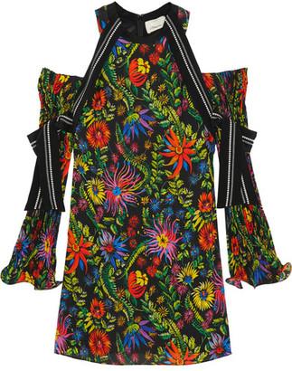 3.1 Phillip Lim - Cutout Silk-trimmed Floral-print Crepe Mini Dress - Black $850 thestylecure.com