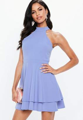 Missguided Blue Cut Out Back Double Layer Skater Dress