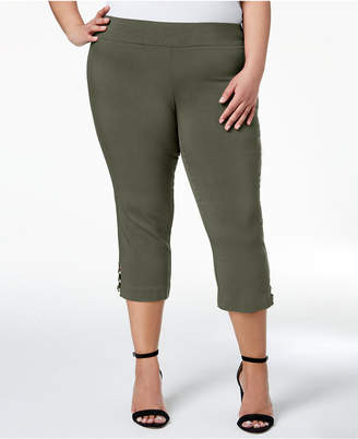JM Collection Plus Size Lattice-Hem Capri Pants