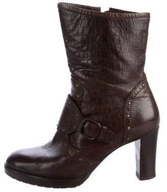 Henry Beguelin Textured Leather Round-Toe Boots