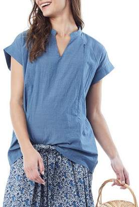 Loyal Hana Maternity/Nursing Carrie Striped V-Neck Short-Sleeve Blouse