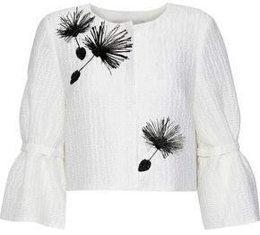 Carolina Herrera Cropped Appliquéd Woven Jacket