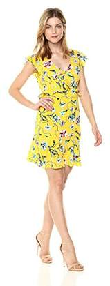 Cooper & Ella Women's Yellow Floral Peony Jaylinn Ruffle Cap Sleeve Dress