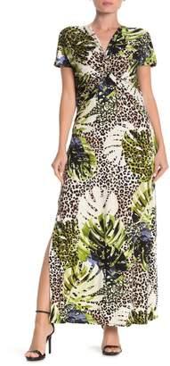 Spense Tropical Print Front Twist Maxi Dress