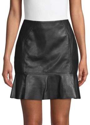BCBGMAXAZRIA Faux Leather Flounced Skirt