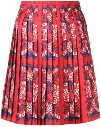 Valentino logo-print pleated skirt
