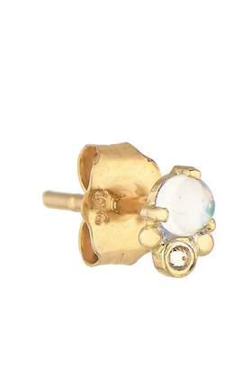 Celine Daoust Rainbow Moonstone and Diamond Sphere Single Stud Earring