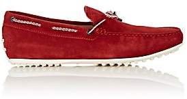 Tod's MEN'S BRAIDED-TIE SUEDE DRIVERS - RED SIZE 6.5 M
