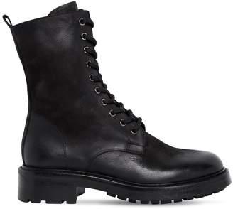 Elena Iachi 30mm Washed Leather Combat Boots