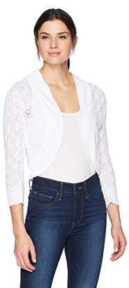 Ronni Nicole Women's 3/4 Sleeve Crochet Shrug