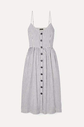 ATM Anthony Thomas Melillo Striped Cotton And Linen-blend Midi Dress - White