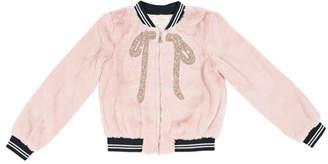 Hannah Banana Faux-Fur Bomber Jacket w/ Crystal Bow Applique, Size 7-14