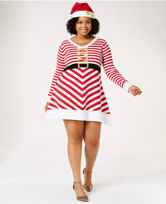 Planet Gold Trendy Plus Size Bow-Trim Sweater Dress