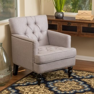 Noble House Madison Pewter Fabric Tufted Club Chair