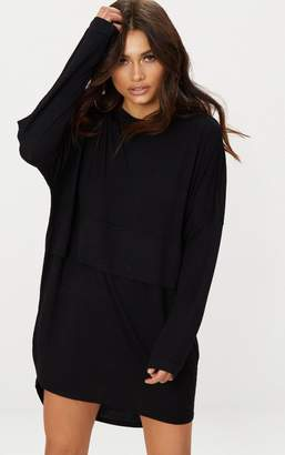 PrettyLittleThing Black Long Sleeve Layer Jersey T Shirt Dress