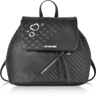 Love Moschino Black Quilted Eco Leather Backpack