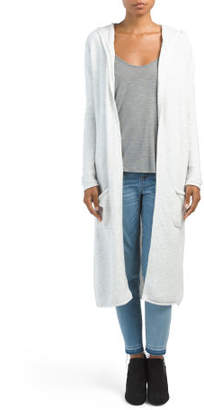 Juniors Hooded Duster Cardigan