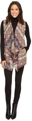 Tribal Aztec Print Vest w/ Draped Collar Women's Vest