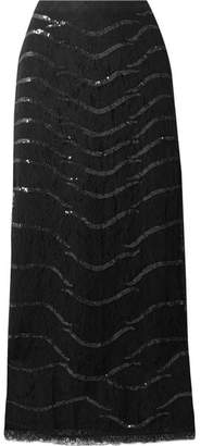 Temperley London Panther Sequined Lace Midi Skirt - Black