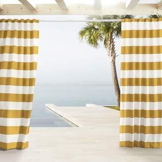 west elm Outdoor Stripe Curtains - Citrus