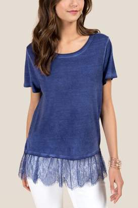 francesca's Evelyn Lace Two-fer Tee - Navy