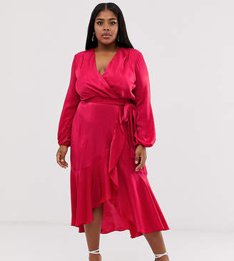 Flounce London Plus wrap front satin midi dress in hot pink