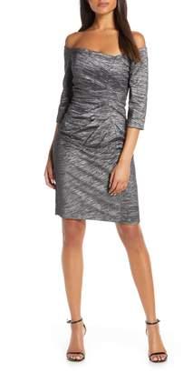 Eliza J Off the Shoulder Ruched Sheath Dress