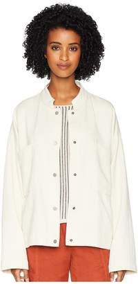 Eileen Fisher Organic Cotton Mandarin Collar Oversized Short Jacket Women's Coat