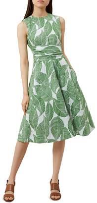 Hobbs London Twitchill Leaf Print Linen Dress